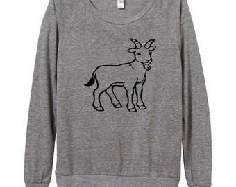 Goat Womens Long sleeve Pullover shirt silkscreen