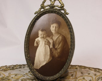 Antique Photo Frame with Original Sepia Black & White Photo of Young Woman and Baby