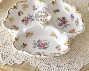 Beautiful Vintage German Porcelain Handled Dish