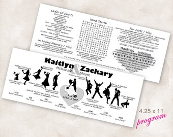 FINISHED Horizontal dancing Silhouette bridal party TimeLine word search Double Sided Wedding Program With Your Party, ALL you do is PRINT