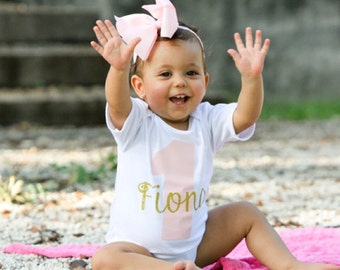 1st Birthday Onesie Pink Gold Onesie Pink Gold Birthday Onesie Pink Gold Birthday Shirt 1st Birthday Shirt My 1st Birthday Baby Girl Onesie
