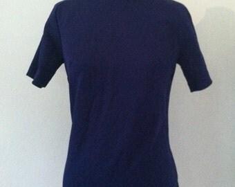 Vintage 1970s Blue Polyester Turtleneck Dallas Sportswear Mod High Neck Top