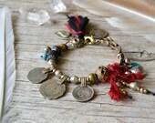 Sale / Kuchi coin bohemian gypsy bracelet, boho chic jewelry, bohemian bracelet, gypsy jewelry, ethnic bracelet