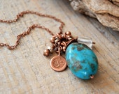 turquoise yoga necklace - om necklace - yoga jewelry - throat chakra necklace - aum ohm