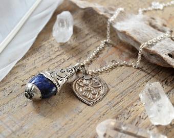 lapis lazuli and Hanuman amulet silver necklace - yoga jewelry - Tibetan pendant yoga necklace