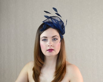 Navy Blue Sinamay and Feather Fascinator - Dark Blue Fascinator - Art Deco - Bridesmaid Fascinator