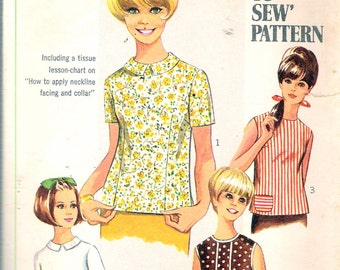 """Vintage 1967 Simplicity 7457 Misses Blouse Sewing Pattern Size 12 Bust 34"""""""