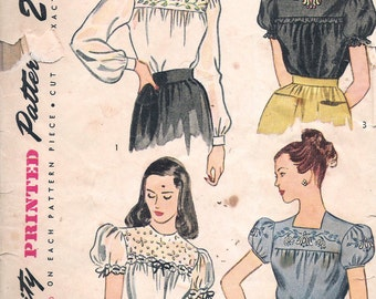 Vintage 1946 Simplicity 1671 Back Buttoned Embroidered Blouse Sewing Pattern Size 16 Bust 34""