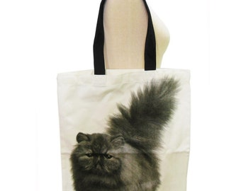 Cat Canvas Bag Meow Cat Animal Tote Bag Screen Print Handmade