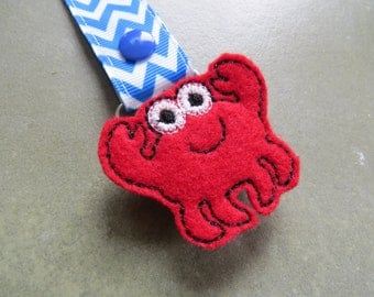 Pacifier Leash Paci Clip - Crab Feltie Metal Pacifier Clip