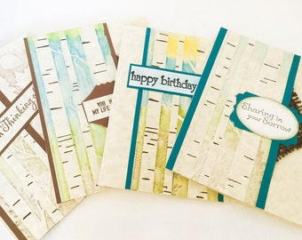 Set of 4 handmade cards - birch trees - Birthday card - thinking of you - sympathy Cards - embossed trees
