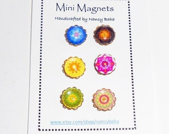 Glass Magnets - Mandala Fridge Magnets -Needle Minder - Office Magnets - Needle Keeper -Cross Stitch Acessories -  Mini Magnets - Mag214