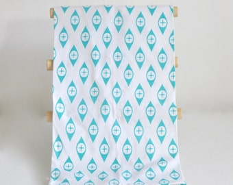 Tea Towel, Geometric Pattern, Aqua Turquoise Pyrex Eyes Style, Eco-Friendly, 100% Cotton Hand Printed Dish Cloth