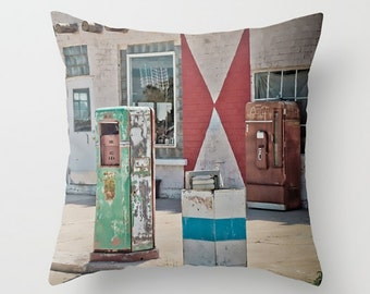 Large Throw Pillow Midway Station Rt. 66 Adrian Texas Retro Gas Pumps