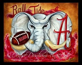 University of Alabama Crimson Tide Mascot Art-Roll Tide