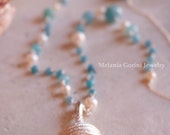 DORIDE Necklace-925 sterling silver necklace with silver shell, angelite beads and freshwater pearls-rosary chain
