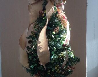 Miniature  Light up Christmas Tree, TableTop Tree,  Rustic Burlap Bow,