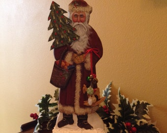 "Old World Santa Clause ""Bellsnickle"" Father Christmas 15"" tall Hand made and painted collectable original  signed and dated for 2016"