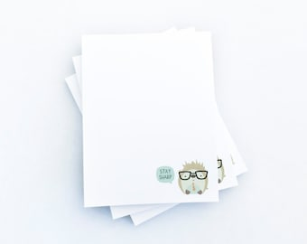 Hedgehog Pun Illustration Kawaii Notepad Stocking Stuffer