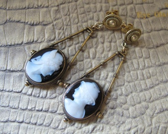 19th Century Archaeological Revival Style Victorian Age Carved Sardonyx CAMEO 15k 15kt Yellow Gold Fine Antique Pendulum Pierced Earrings