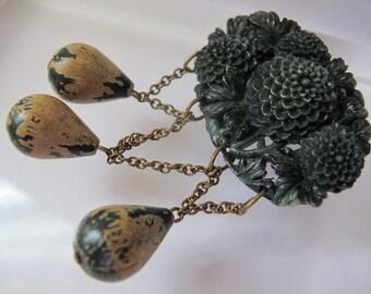 Art Deco Resin Bakelite-Celluloid Chrysanthemum Openwork Brooch Festoon Dangles/Early Plastic/Intricate or Deeply Carved Green Resin BROOCH