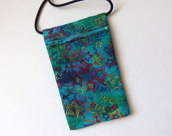 Pouch Zip Bag STARS Fabric aqua teal. Small fabric Purse. Great for walkers, markets, travel. Cell Phone Pouch. sling bag. coin pouch