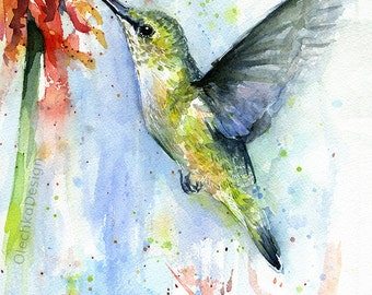 Hummingbird Watercolor Red Flower Art Print, Bird Painting, Colorful Decor, Wildlife, Hummingbird Print, Abstract Hummingbird, Atmospheric