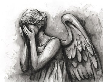 Weeping Angel Painting Art Print Doctor Who Wall Art Doctor Who Decor Watercolor Painting Don't Blink Scary Weeping Angel Art Print Giclee