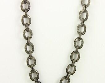 Pave Diamond Chain, Pave link Chain, Pave Diamond Necklace w/ Diamond Clasp, Oxidized Silver, Custom Length (PAV/CHN/02)