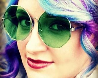 Vintage Octagon Sunglasses, Janis Joplin Sunglasses, 1960s, 1970s, True Vintage, Mod Sunglasses, Green Lenses, Hippie Glasses