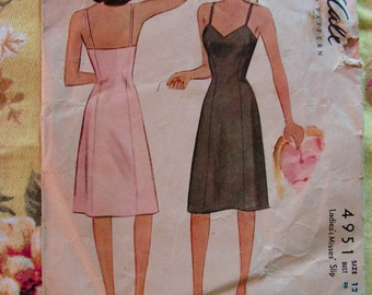 1940's Slips Misses Full Fitted Slip Size 12 bust 30 waist 25 hip 33 MCCALL 4951 vintage sewing pattern