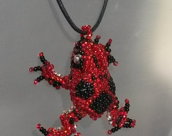 Exotic Glass Beaded TREE Frog Pendant Necklace charm Rare Unique Spirit Animal Totem RED Black spotted speckled Jewelry gift