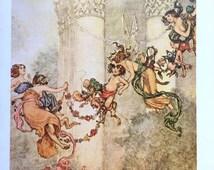 1914 W HEATH ROBINSON A MIDSUMMER Night's Dream Fairies Print Ideal for Framing