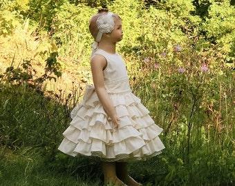 Ivory flower girl dress, flower girl dress ivory lace. Boho flower girl dress. Ivory cotton flower girl dress. Toddler girls ivory dress