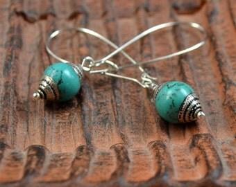 Tibetan Turquoise Long Dangle Earrings Boho Chic Silver Repousse Bohemian Drop Tibet Semi Precious Stones Fashion Jewelry FREE Shipping