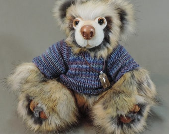 """Artist Teddy Bear, Edward, OOAK Faux fur and needle felted face, collectible, handmade teddy, fully jointed, 14"""" tall"""