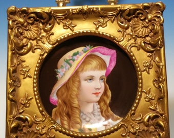 Antique Framed German Hand Painted Porcelain Little Girl Portrait Plate Plaque KPM Royal Vienna Style
