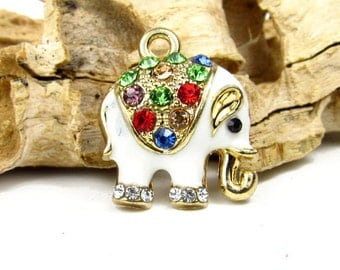 Rhinestone Elephant Charm - Gold Tone Indian Elephant Pendant with Rhinestones 18 x 15mm - CHR012