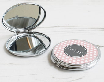Polka Dot Print Mirror – personalised compact mirror – dot pattern mirror – personalised bridesmaid gift – personalized pocket mirror - P06