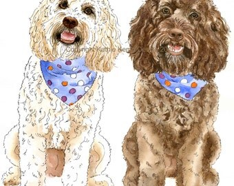 Custom Pet Portraits Dogs Pen and Ink Watercolor Goldendoodles Gift Idea Fathers Day Wedding Anniversary Labradoodles Labradors Gold Brown
