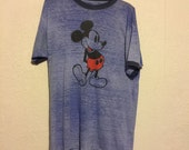 Soft True Vintage Mickey Mouse T-Shirt ~ Heather Blue Ringer Capped Sleeve