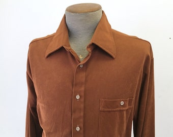 1970s Men's Ultrasuede Disco Era Shirt Vintage Rust Brown Long Sleeve Shirt by Kingsport - Size LARGE