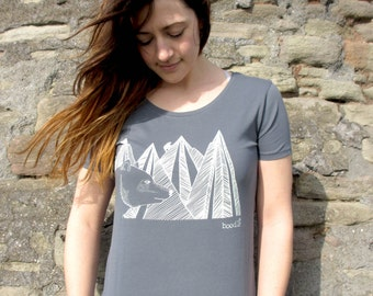 Organic Womens T-shirt 'Mountain Bear', hand screen printed with eco-friendly inks. Featuring a bear in front of a mountain range.
