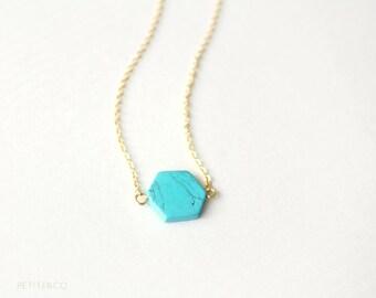 turquoise geometry - hexagon necklace, minimalist, dainty jewelry