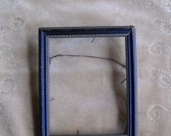 Small Vintage Art Deco Black and Gold Wood Frame with Glass circa 1930s