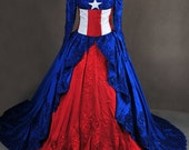 Captain America Marvel Red White and Blue Masquerade Inspired Ball Gown Dress Cosplay Costume
