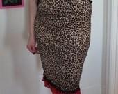 Upcycled Leopard Pencil Skirt - Rockabilly - Pinup - Pinky Pinups - Pom Pom Fringe - Size L