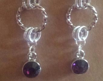 February Birthstone Earrings - Birthstone Earrings - Amethyst Crystal Earrings - Crystal Earrings - Purple Crystal Earrings - Purple Crystal