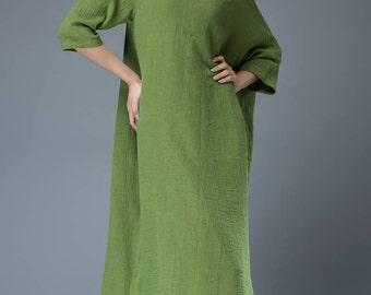 Green Linen Maxi Dress Spring Fashion Dress C818