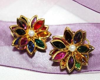 Magnificent Vintage Designer Fruit Salad SWAROVSKI CRYSTAL Earrings E10